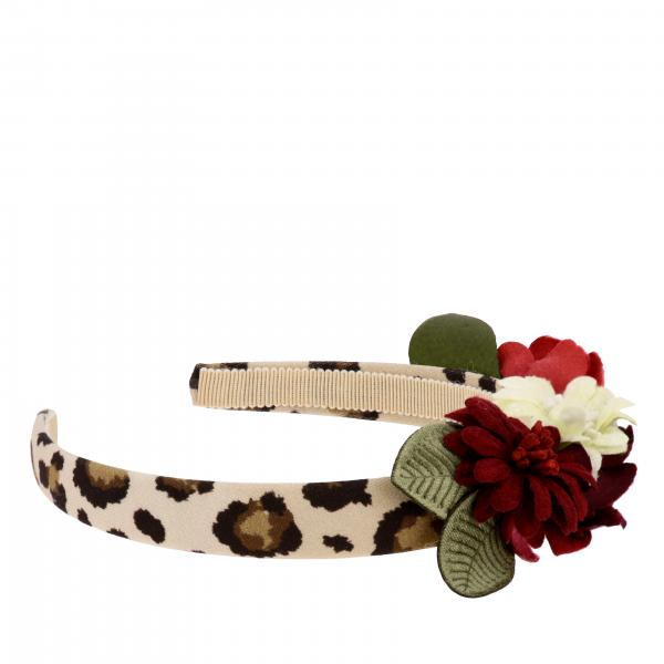 Monnalisa headband with animal print and floral applications