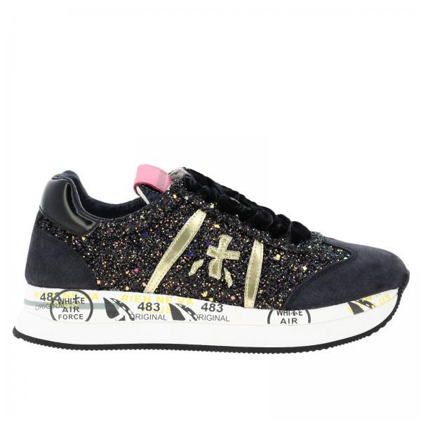 Sneakers Conny Premiata in camoscio e glitter