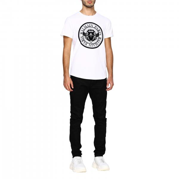 Logo BalmainA Sh11135i107 Uomo T Con Maniche Corte Maxi shirt EIH2bD9WeY