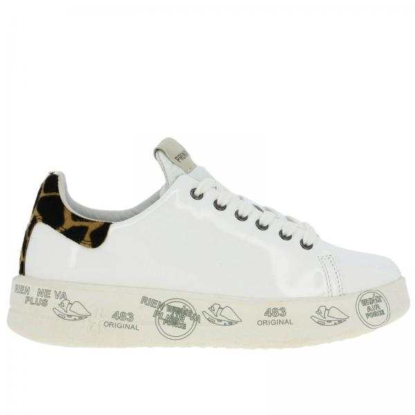 Belle Sneakers Premiata aus Leder mit Maxi-Plateausohle und all over Prints