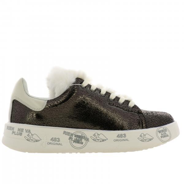 Sneakers Belle Premiata in pelle con maxi suola platform con multi stampe