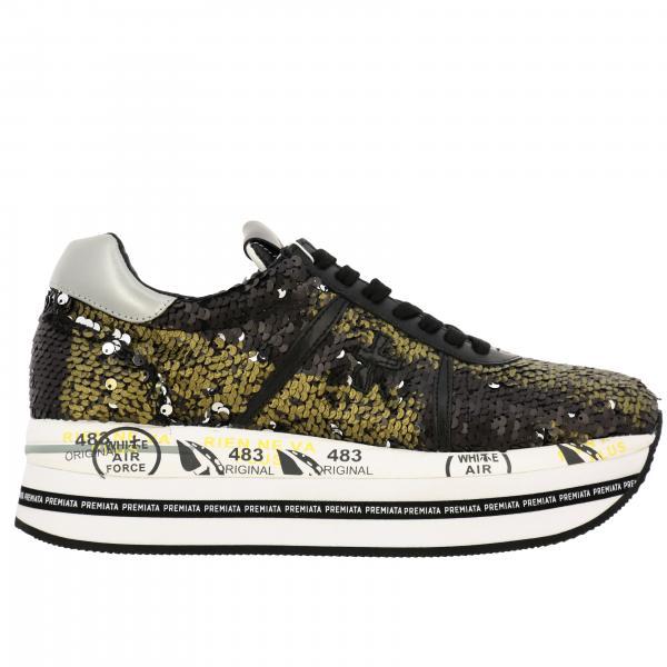 Sneakers Beth Premiata in pelle e paillettes con maxi suola platform