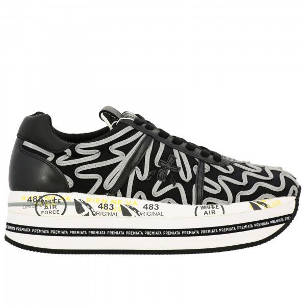 Sneakers Beth Premiata in pelle con dettagli a contrasto e maxi suola platform