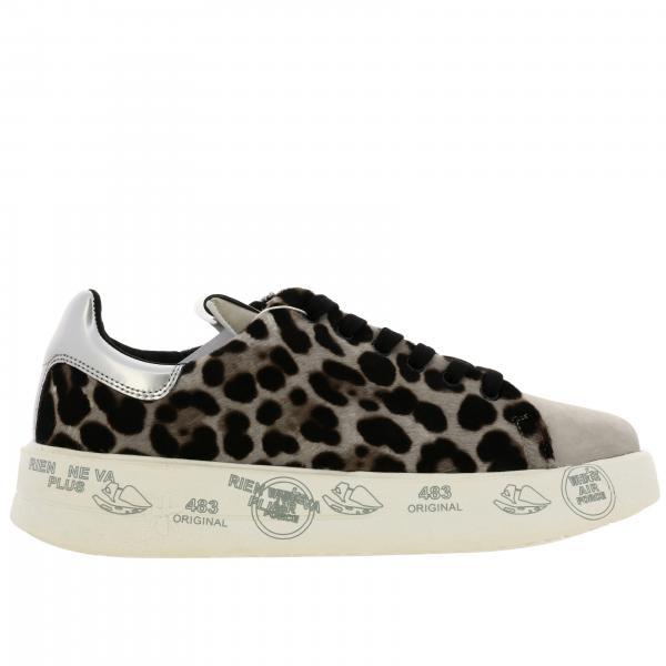 Sneakers Belle Premiata in tessuto animalier con maxi suola platform con multi stampe