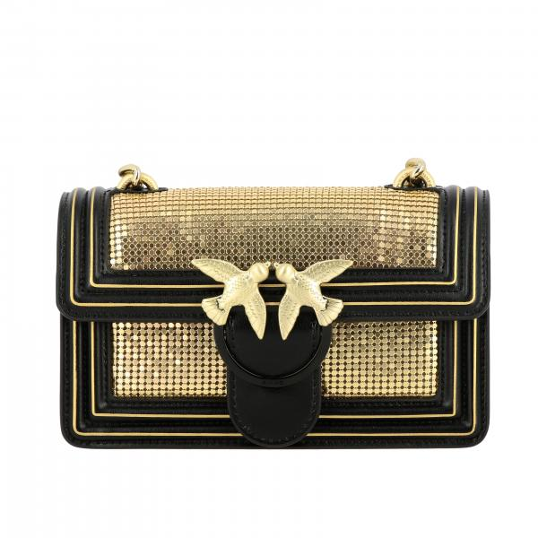 Pinko Mini love Metal leather and metallic mesh bag