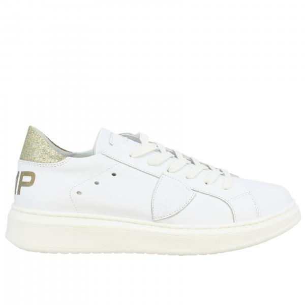 Philippe Model laced sneakers in smooth leather with glitter heel