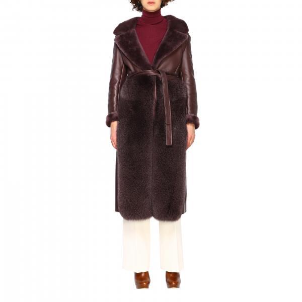 Cappotto Blancha lungo in pelle e pelliccia
