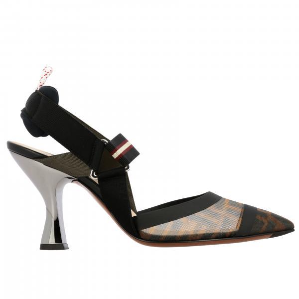 Босоножки Fendi из сетки с монограммой FF на металлическом каблуке