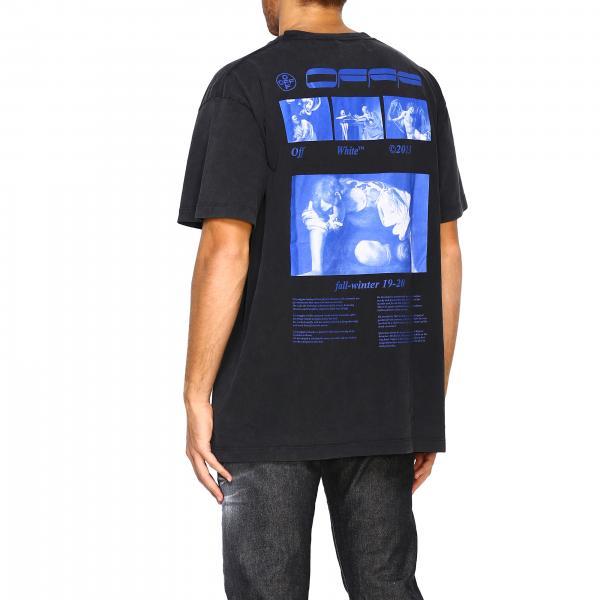 Omaa038f1985009 Off T Uomo Corte shirt Maxi White Maniche Stampa Con Posteriore NeroA b6gyY7f