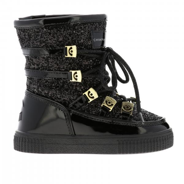 Chiara Ferragni low boots in patent leather and glitter with Flirting details