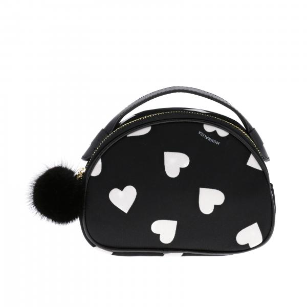 Monnalisa Bag / belt Bag with all-over hearts and pompons