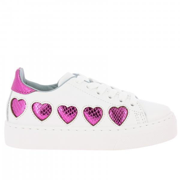 Chiara Ferragni laced sneakers in smooth leather with maxi laminated hearts