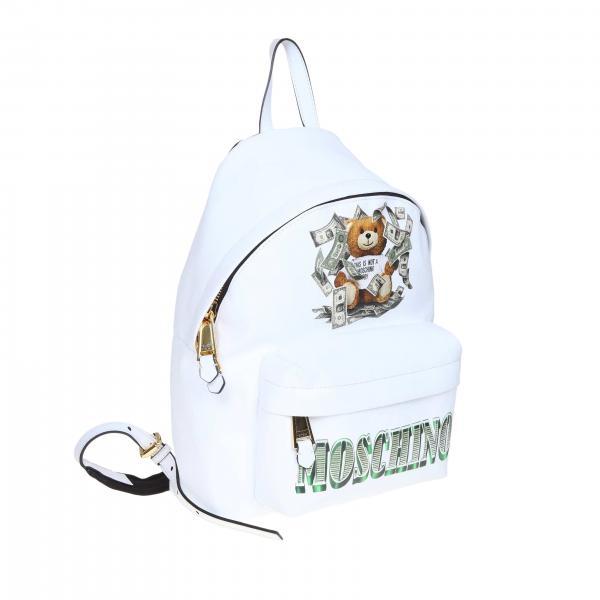 Couture Teddy Stampa Sintetica 8210 Donna Moschino Dollaro 7636 Zaino BiancoIn Pelle Con rBtsCxhQd
