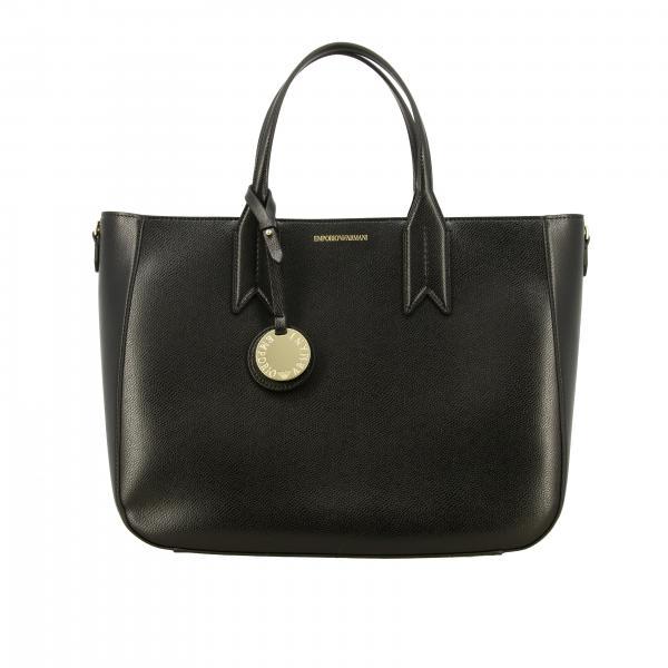 Borsa Emporio Armani shopping bag large in pelle sintetica con logo