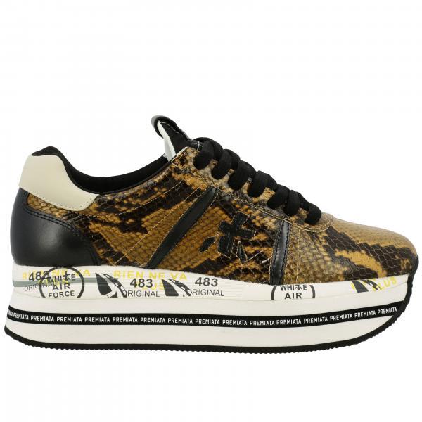 Sneakers Beth Premiata in pelle stampa pitone con maxi suola platform