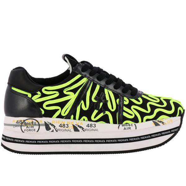 Sneakers Beth Premiata in pelle con dettagli fluo maxi suola platform