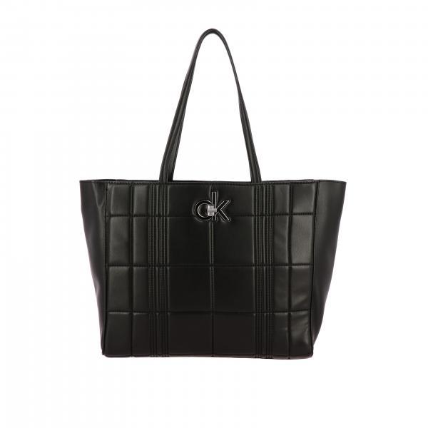 Borsa Calvin Klein shopping bag in pelle con logo
