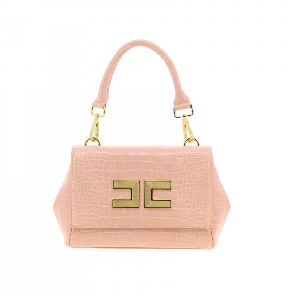 Borsa mini Elisabetta Franchi con maxi logo metallico e tracolla