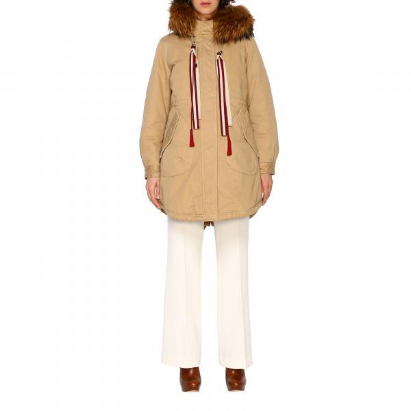 Parka Blanche Alessandra Chamonix con cappuccio e bordi di pelliccia
