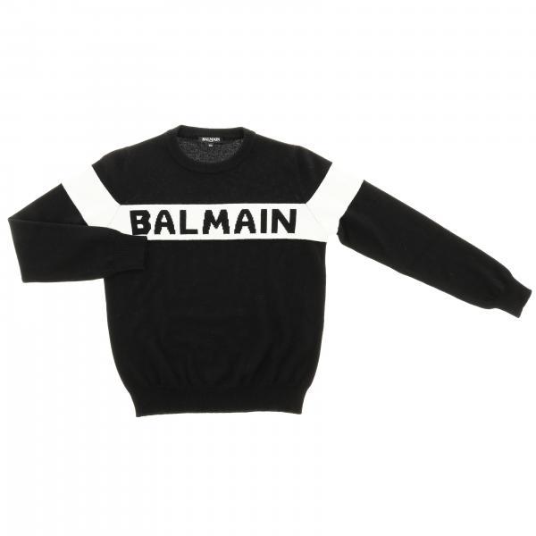 Pull col ras du cou avec maxi logo Balmain