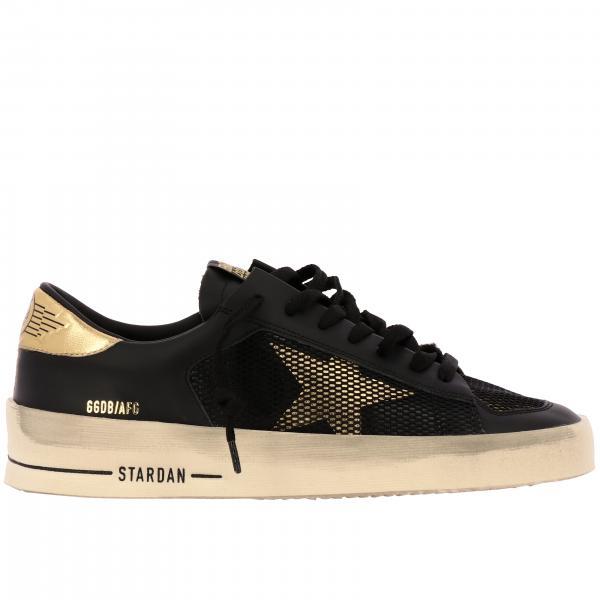 Golden Goose Sneakers aus glattem und laminiertem Leder mit Maxi Logo