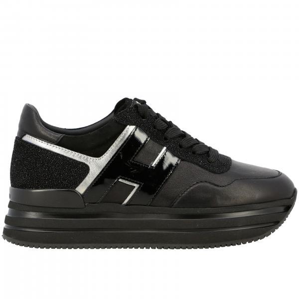 Sneakers Hogan stringata in pelle e glitter con H maxi