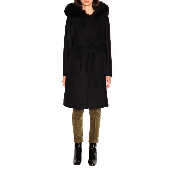 Cappotto Fay a vestaglia con cinta e cappuccio con bordi di pelliccia