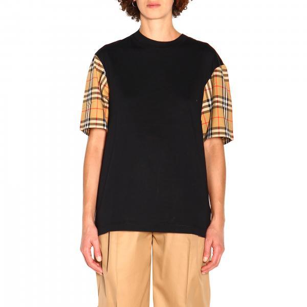 T-shirt Burberry con maniche check