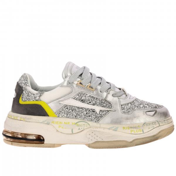 Sneakers Draked Premiata in camoscio pelle e tessuto glitter