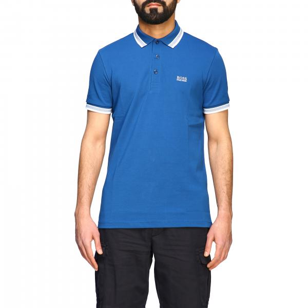 Short-sleeved Hugo Boss polo shirt with logo and striped edges