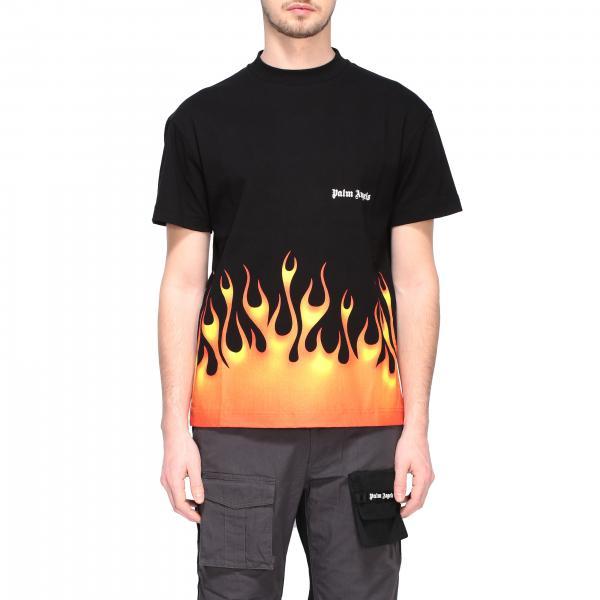 T-shirt Palm Angels a maniche corte con fiamme stampate