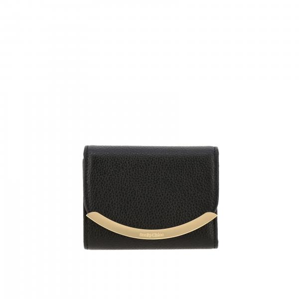See By ChloÉ wallet in textured leather with metallic details