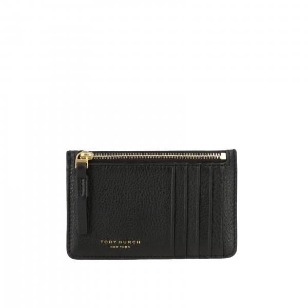 Tory Burch credit card holder in textured leather with logo and zip