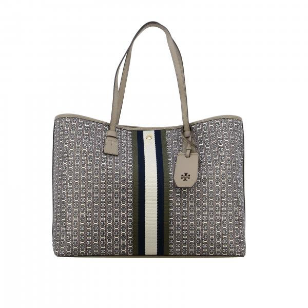 Borsa Gemini tote Tory Burch in canvas con stampa all over