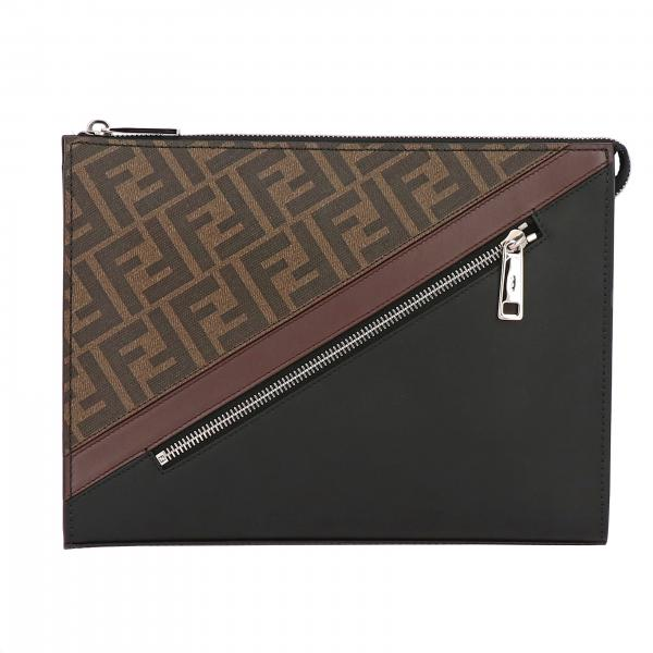 Fendi leather clutch bag with FF all over print and band