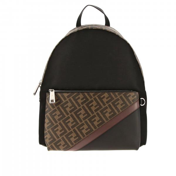 Fendi leather backpack with FF monogram and nylon