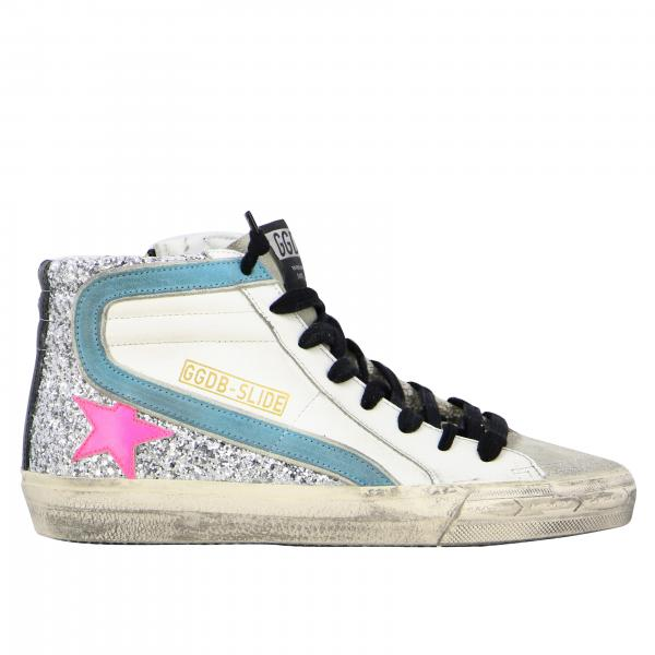 Golden Goose sneakers in leather and glitter with colored star