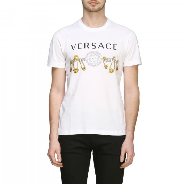 Versace short-sleeved T-shirt with jellyfish head print and pins