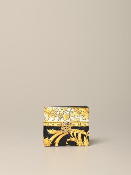 Portefeuille Versace en cuir imprimé baroque avec tête de méduse
