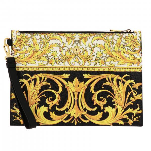 Pochette Versace in pelle con stampa barocca