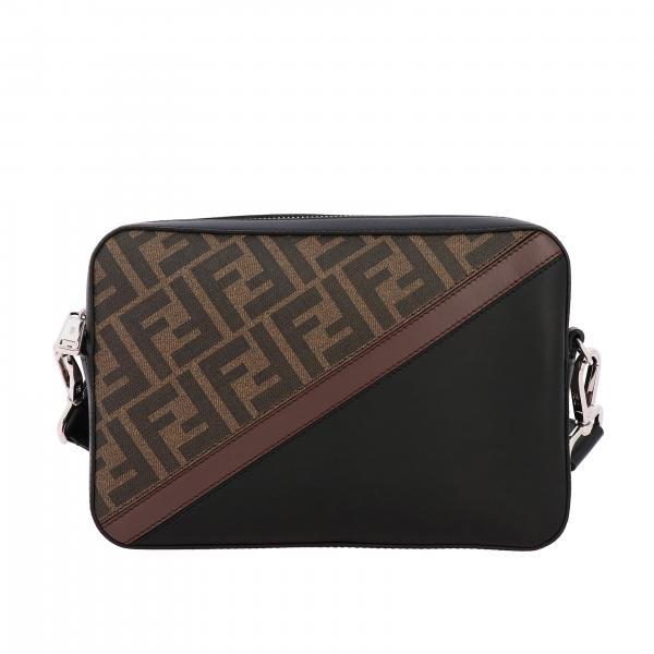 Fendi leather shoulder bag with all-over FF print and band