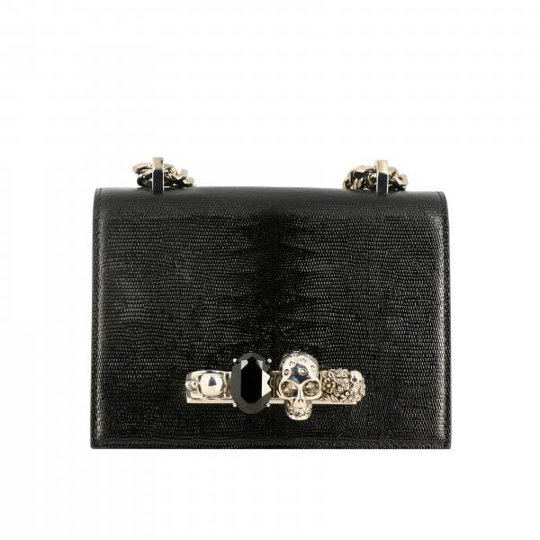 Alexander McQueen Jewelled Umhängetasche aus strukturiertem Leder