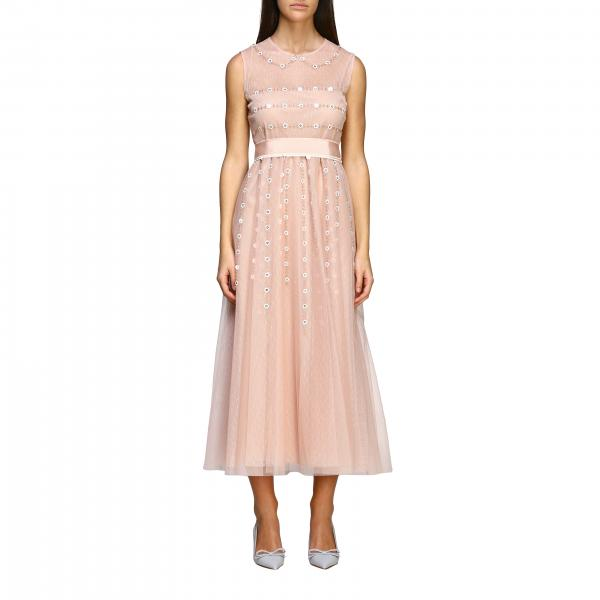Long Red Valentino dress in tulle with floral embroidery