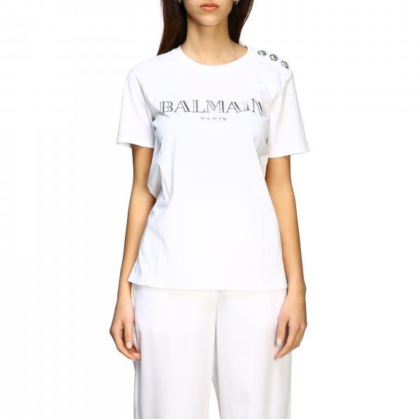 T-shirt Balmain a maniche corte con logo e bottoni