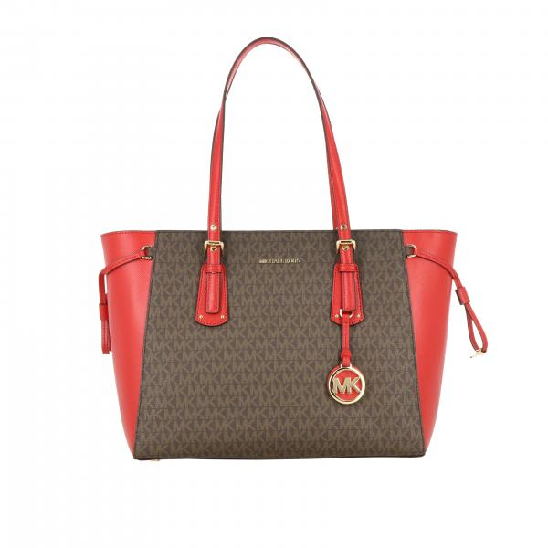Borsa Voyager Michael Michael Kors con stampa MK all over