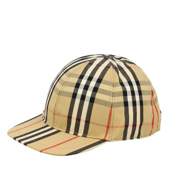 Cappello Burberry stile baseball con motivo check