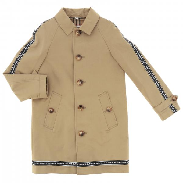 Burberry cotton coat with logoed bands