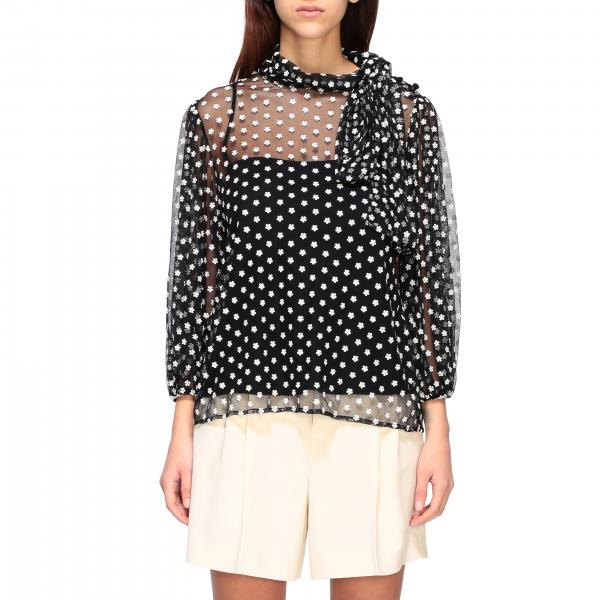 Red Valentino polka dot shirt with foulard collar