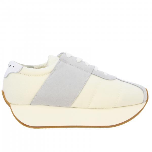Sneakers Marni in tela e camoscio con suola rialzata