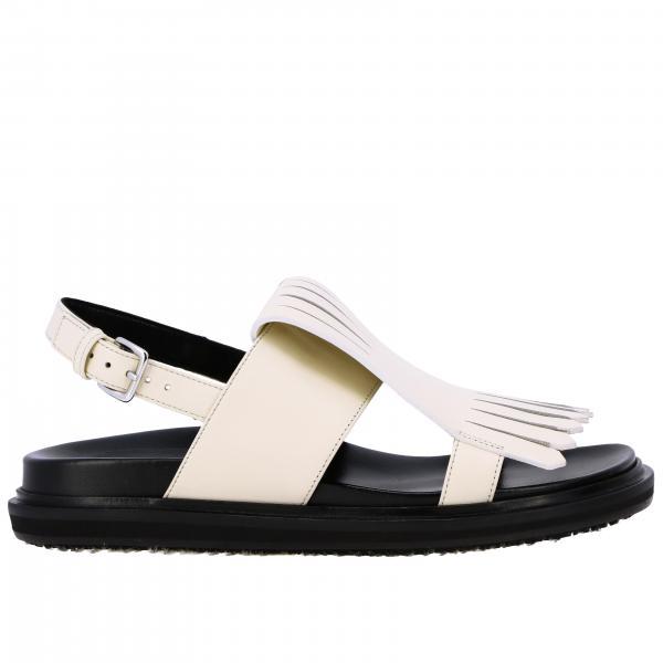 Sandalo flat Marni in pelle con frange